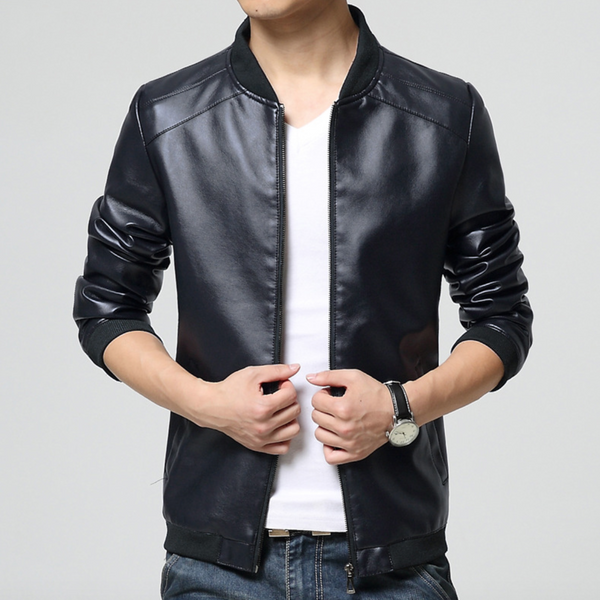 Faux Leather Casual Jacket
