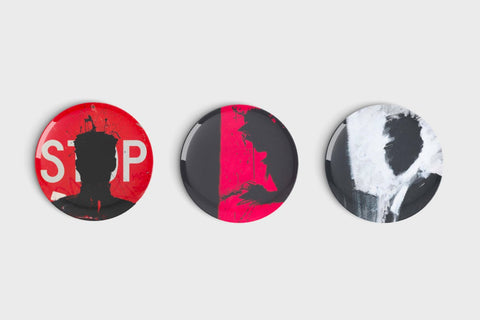 Stop Sign, Red Devil, Shadowman - Ceramic Triptych