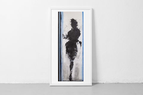 Standing Woman with Blue Lines