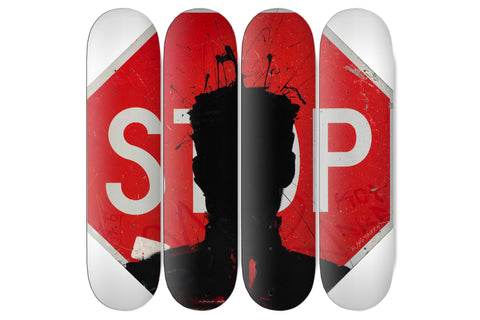 Stop Sign - Ceramic Triptych