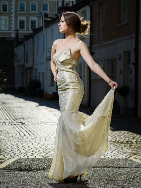 Couture 50'S METALLIC-GOLD SILK-BROCADE STRAPLESS COCKTAIL DRESS STYLE 01