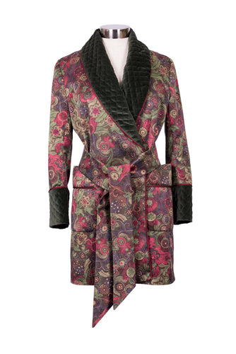 Sylvia Patterned Silk and Velvet Luxury Smoking Jacket
