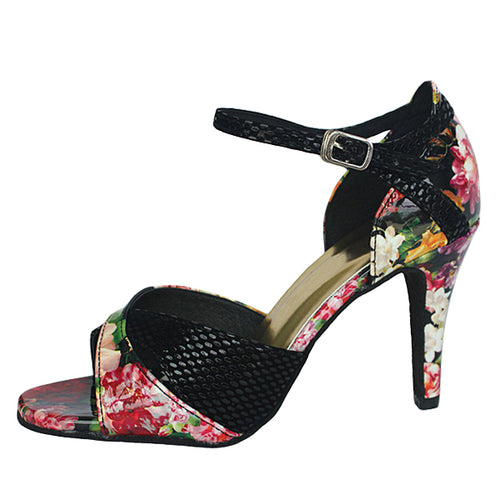 Blossom Floral Dance Shoes Black