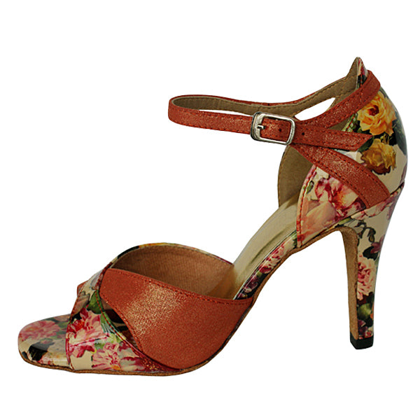 Blossom Floral Dance Shoes Dark Tan
