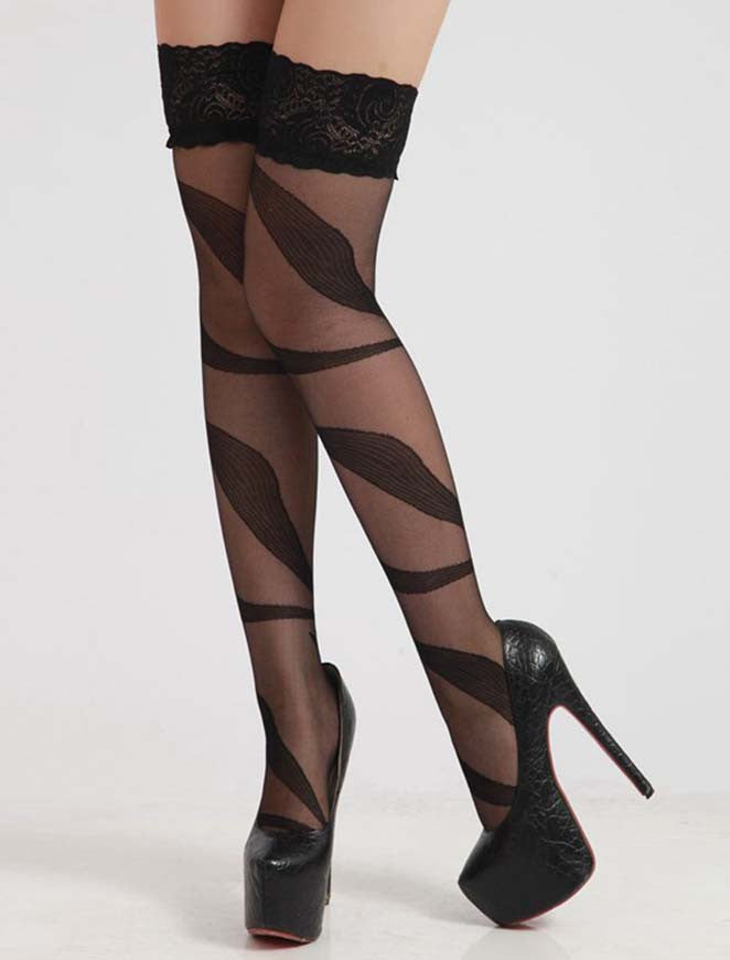 Ella Vine Lingerie hosiery poppy stockings hold ups black sexy pattern patterned lace cheap luxury