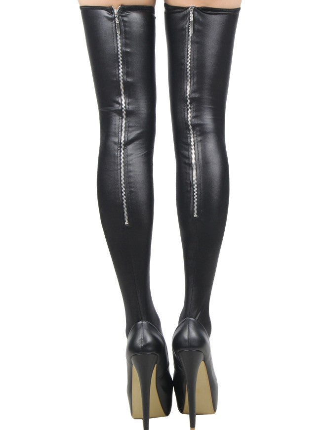 Long Faux Leather Stockings with Zip