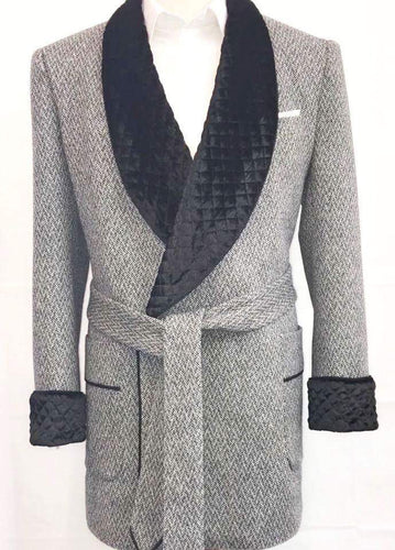 Luxury 100% Wool and Silk Velvet Smoking Jacket for Him