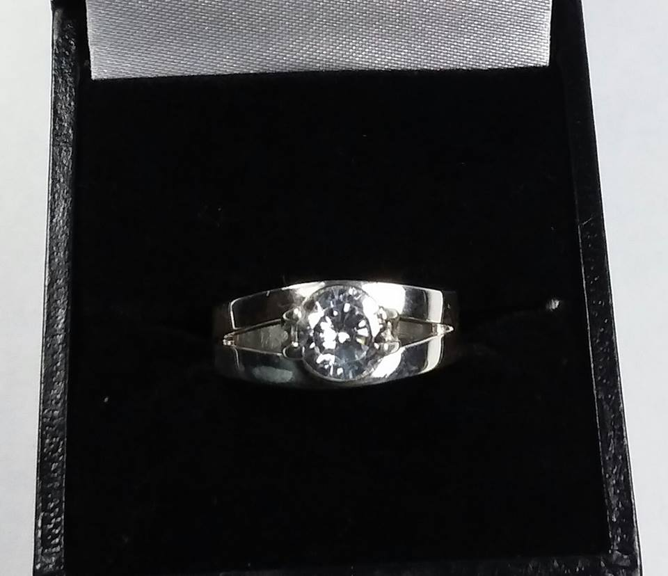 Handmade 925 silver ring with large cubic zirconia