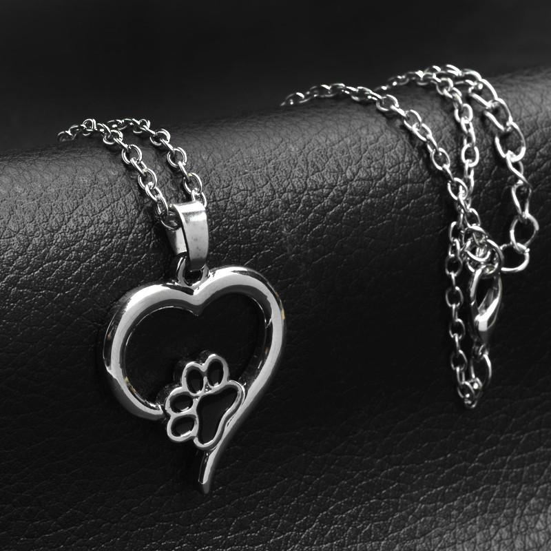 Hollow Paw with Heart Necklaces - Delighful Pet Accessories