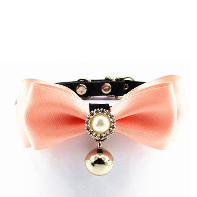 Pet Dog Cat Collar with Bell Cute Bow Pearl Tie