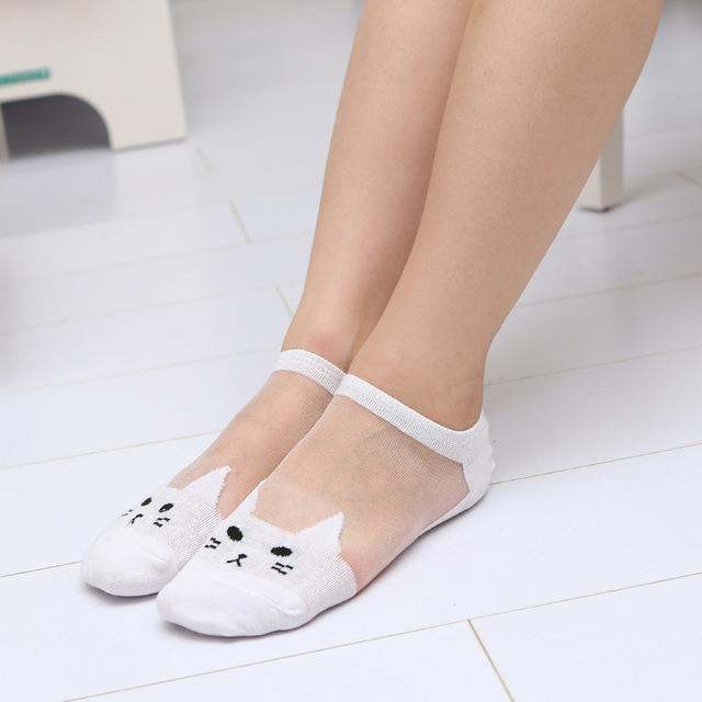 Cute print cat transparent socks