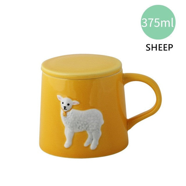 3D Animal ceramic  mug with Lid - Delighful Pet Accessories