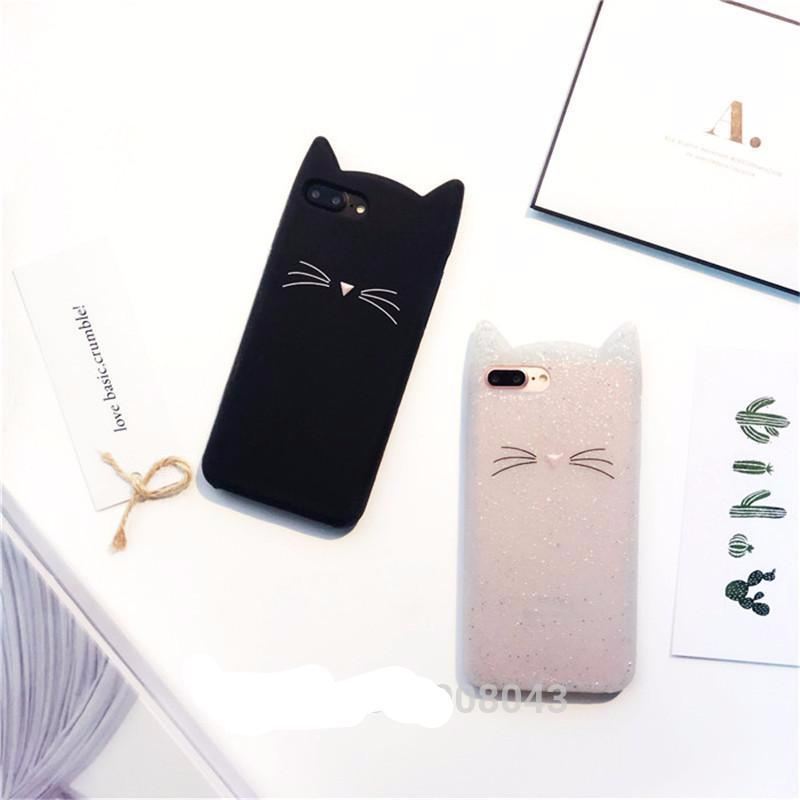 Lovely Glitter Cartoon Cute Cat 3D Silicon Phone Case