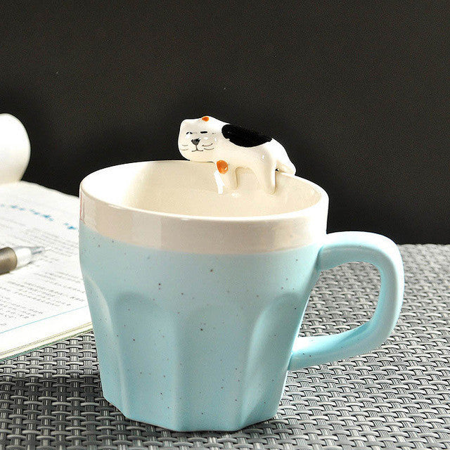 Ceramic Cute Cat Coffee Cup  Mug