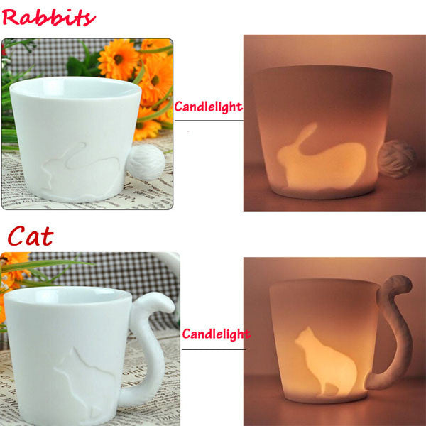270ml Creative Ceramic Candlestick Mug Cat Cup Birthday Christmas Gift White Coffee Cup - Delighful Pet Accessories