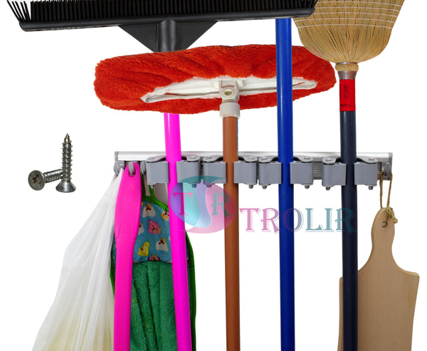 TROLIR Not Yet Another Mop Broom Holder, Clips Hold Everything Better Than  Rollers, 4 Sliding Grippers and 6 Hooks, Extra Space in Between, Wall Mount