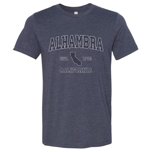 Alhambra California CA Soft T-Shirt Vintage Sports Design Adult (Unisex Tee)