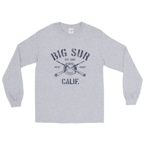 Big Sur California CA Long Sleeve T-Shirt Nautical Boating Design (Unisex)