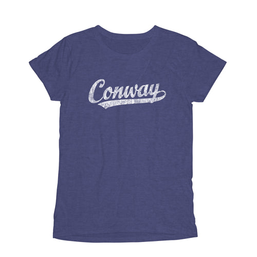 Conway Arkansas AR Women's Fashion Fit T-Shirt Baseball Script Sports Design