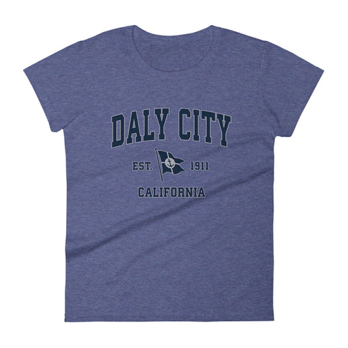 Daly City California CA Womens Fashion Fit T-Shirt Vintage Boat Anchor Flag Design