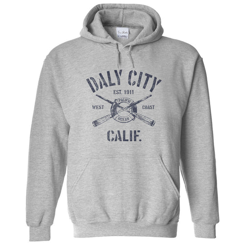 Daly City California CA Sport Grey Hoodie Nautical Boating Design (Unisex)