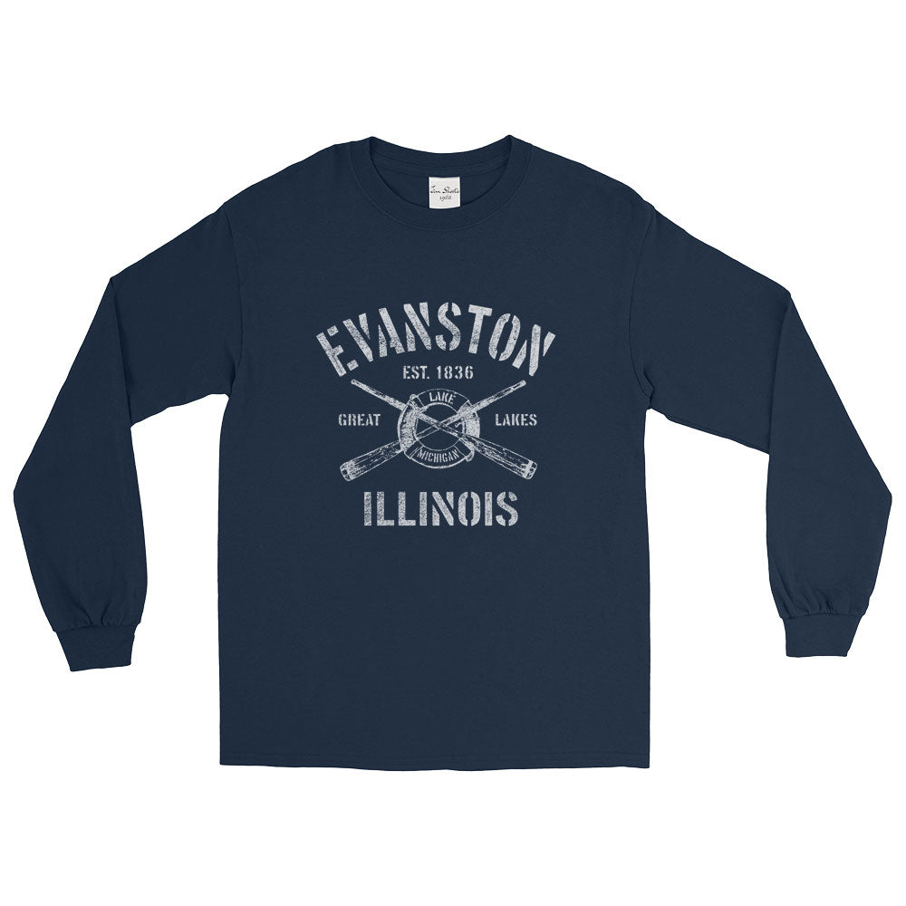 Evanston Illinois IL Long Sleeve T-Shirt Nautical Boating Design (Unisex)