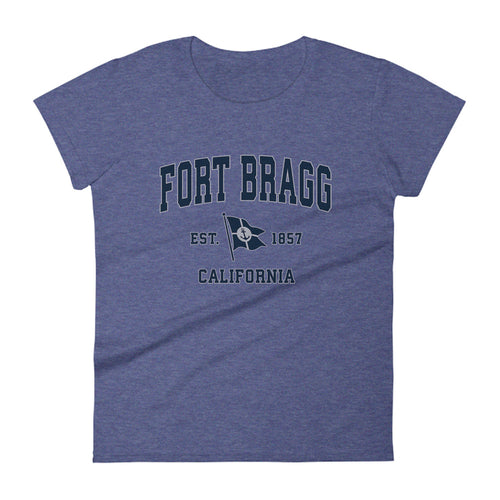 Fort Bragg California CA Womens Fashion Fit T-Shirt Vintage Boat Anchor Flag Design