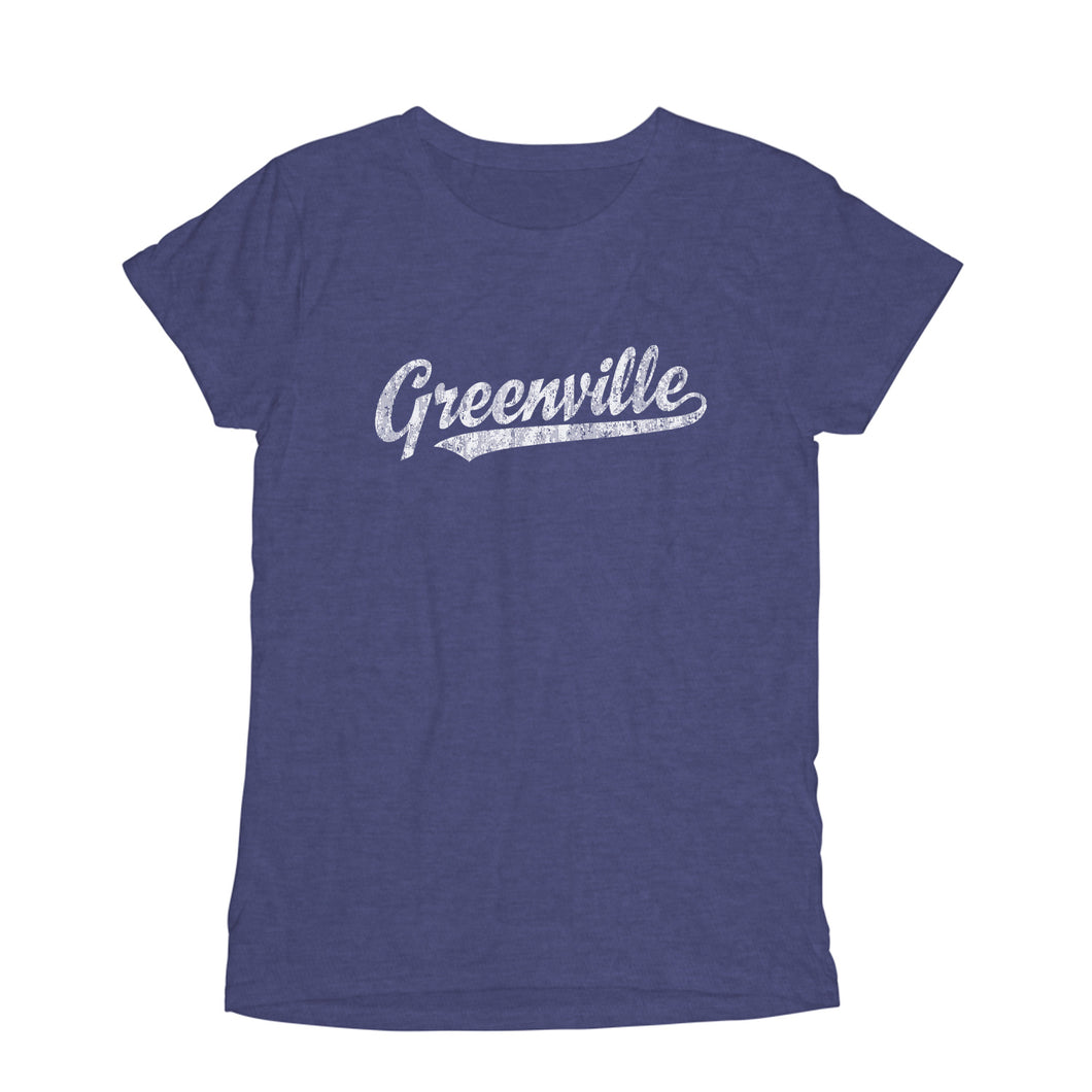Greenville North Carolina NC Women's Fashion Fit T-Shirt Baseball Script Sports Design