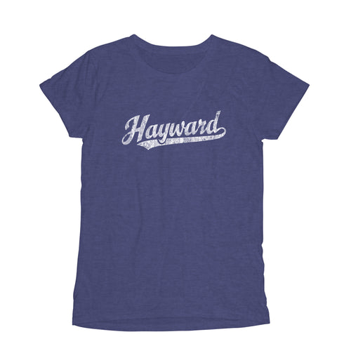 Hayward California CA Women's Fashion Fit T-Shirt Baseball Script Sports Design