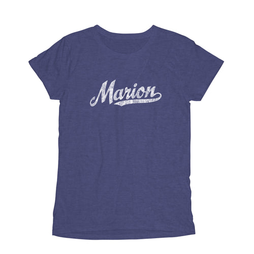 Marion Ohio OH Women's Fashion Fit T-Shirt Baseball Script Sports Design