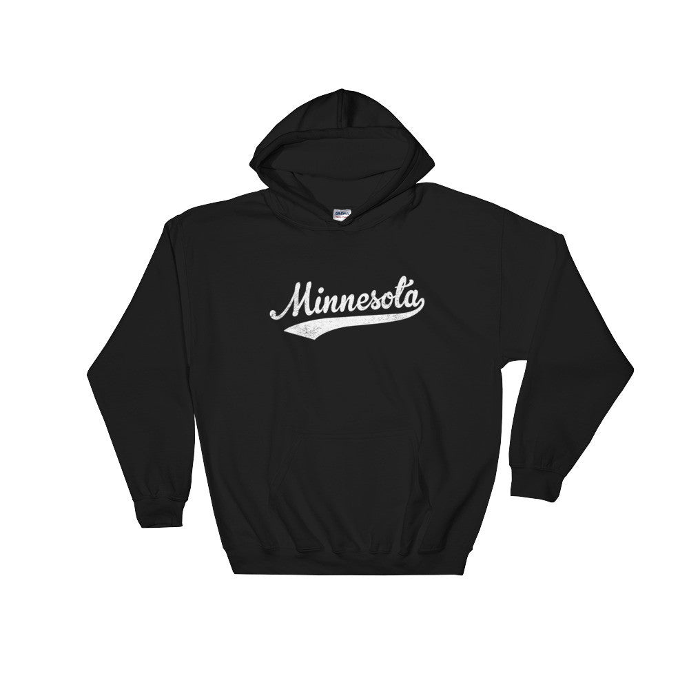 Vintage Minnesota MN Hoodie with Script Tail Design Adult (Unisex) - JimShorts