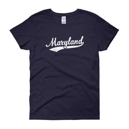 Vintage Maryland MD Women's T-Shirt with Script Tail Design - JimShorts
