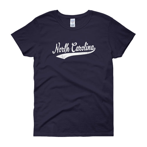Vintage North Carolina NC Women's T-Shirt with Script Tail Design - JimShorts