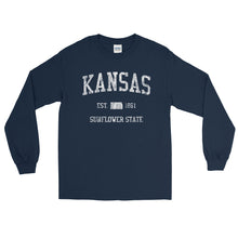 Vintage Kansas KS Adult Long Sleeve T-Shirt (Unisex) - JimShorts