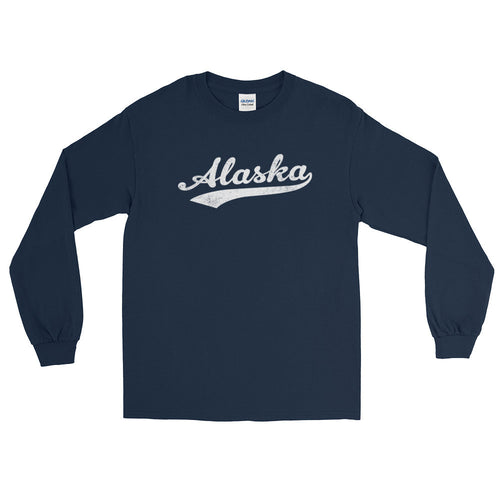 Vintage Alaska AK Long Sleeve T-Shirt with Script Tail Design Adult - JimShorts