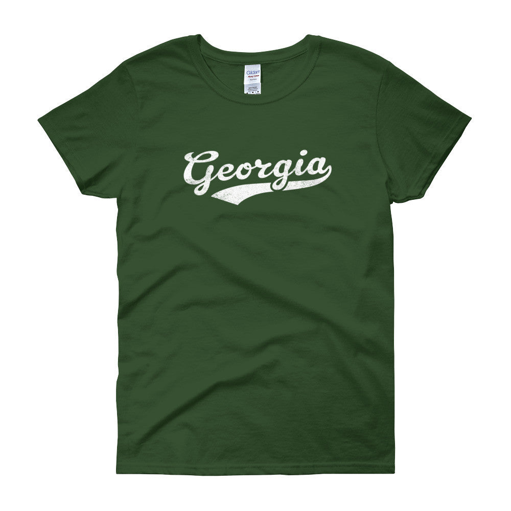 Vintage Georgia GA Women's T-Shirt with Script Tail Design - JimShorts