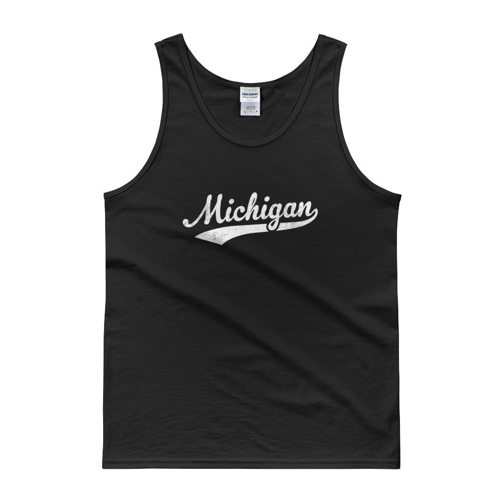 Vintage Michigan MI Tank Top Script Tail Design Adult - JimShorts