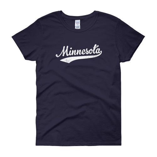 Vintage Minnesota MN Women's T-Shirt with Script Tail Design - JimShorts