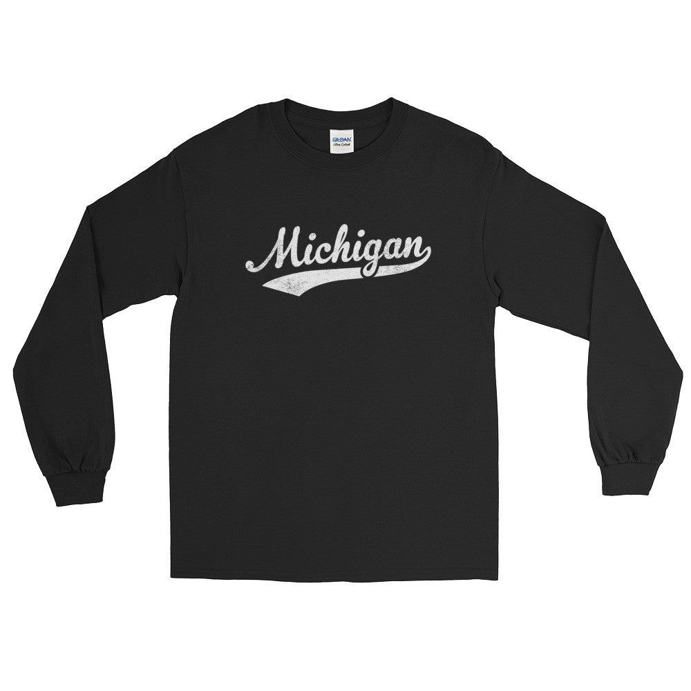 Vintage Michigan MI Long Sleeve T-Shirt with Script Tail Design Adult - JimShorts