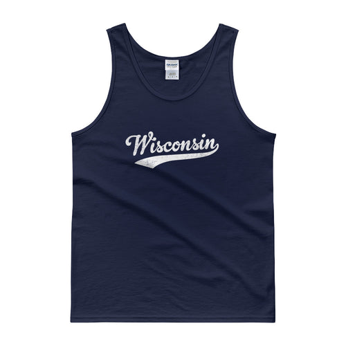 Vintage Wisconsin WI Tank Top Script Tail Design Adult - JimShorts