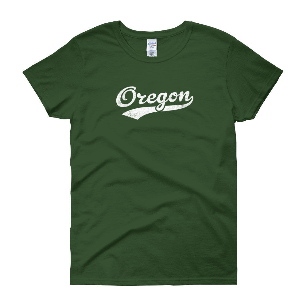 Vintage Oregon OR Women's T-Shirt with Script Tail Design - JimShorts