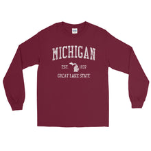 Vintage Michigan MI Adult Long Sleeve T-Shirt (Unisex) - JimShorts
