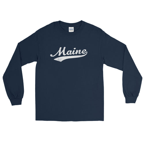 Vintage Maine ME Long Sleeve T-Shirt with Script Tail Design Adult - JimShorts