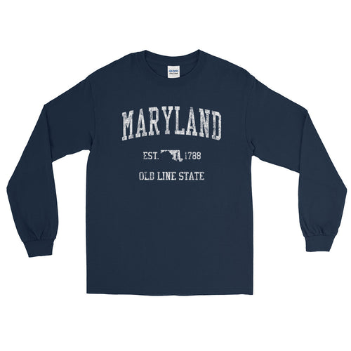 Vintage Maryland MD Adult Long Sleeve T-Shirt (Unisex) - JimShorts