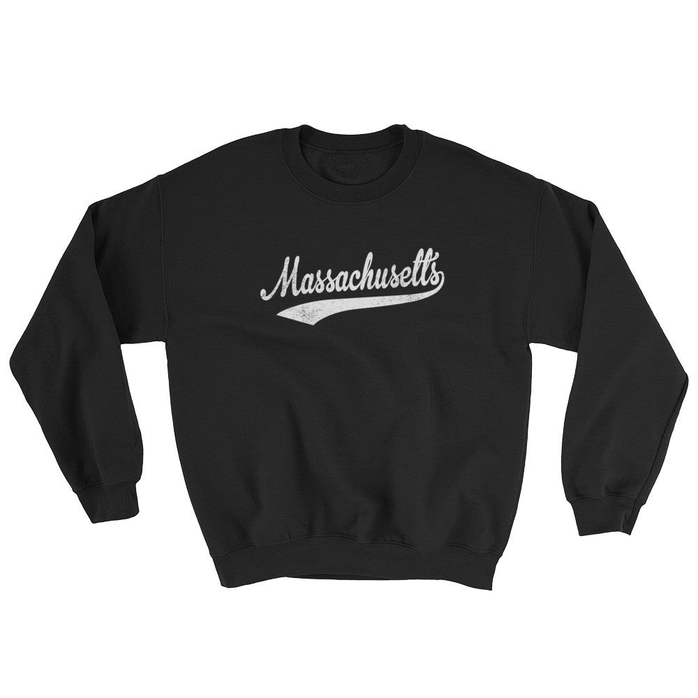 Vintage Massachusetts MA Sweatshirt with Script Tail Design Adult (Unisex) - JimShorts