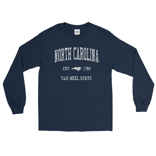 Vintage North Carolina NC Adult Long Sleeve T-Shirt (Unisex) - JimShorts