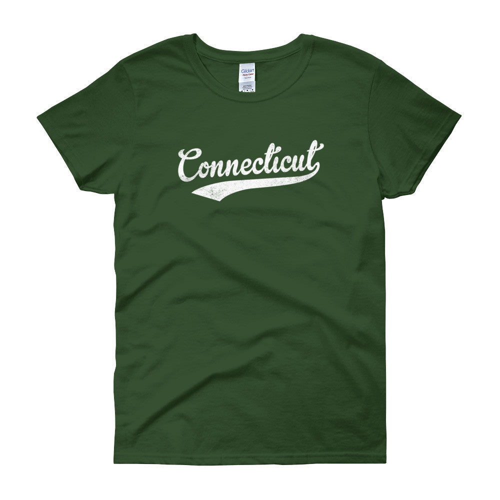 Vintage Connecticut CT Women's T-Shirt with Script Tail Design - JimShorts