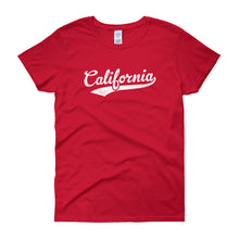 Vintage California CA Women's T-Shirt with Script Tail Design - JimShorts