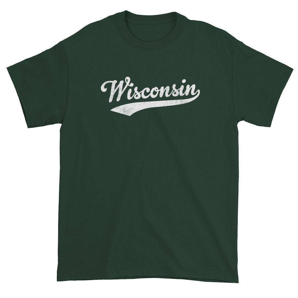 Vintage Wisconsin WI T-Shirt with Script Tail Design Adult - JimShorts
