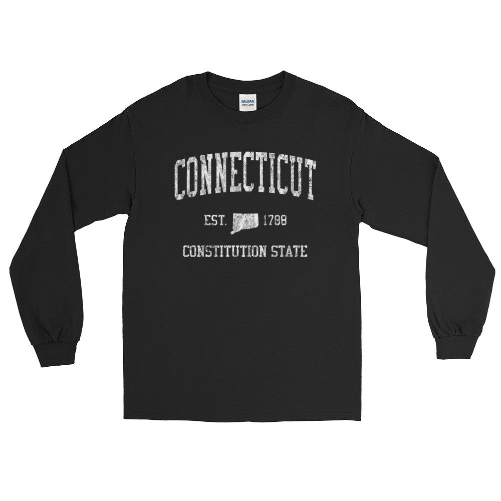 Vintage Connecticut CT Adult Long Sleeve T-Shirt (Unisex) - JimShorts